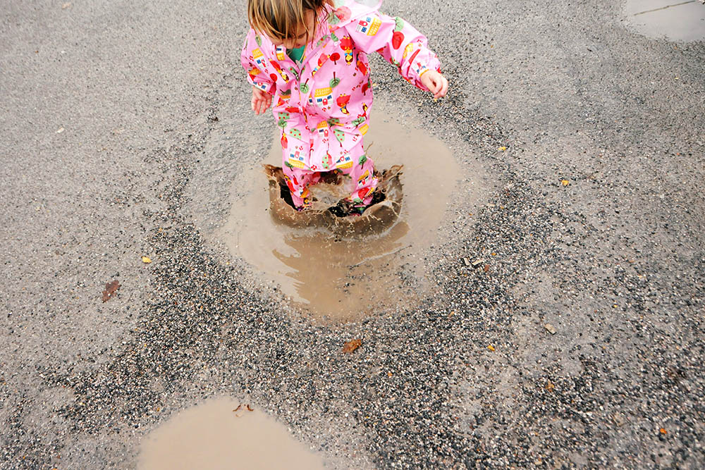 jumping muddy puddles